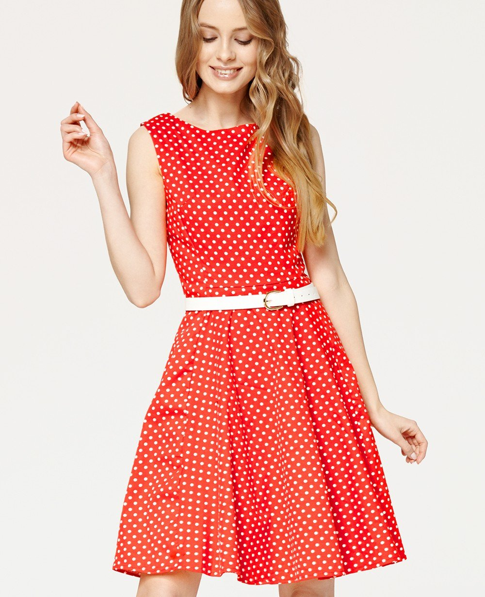 Misfit London Audrey Red Polka Dot Swing Dress Vintage & British Inspired
