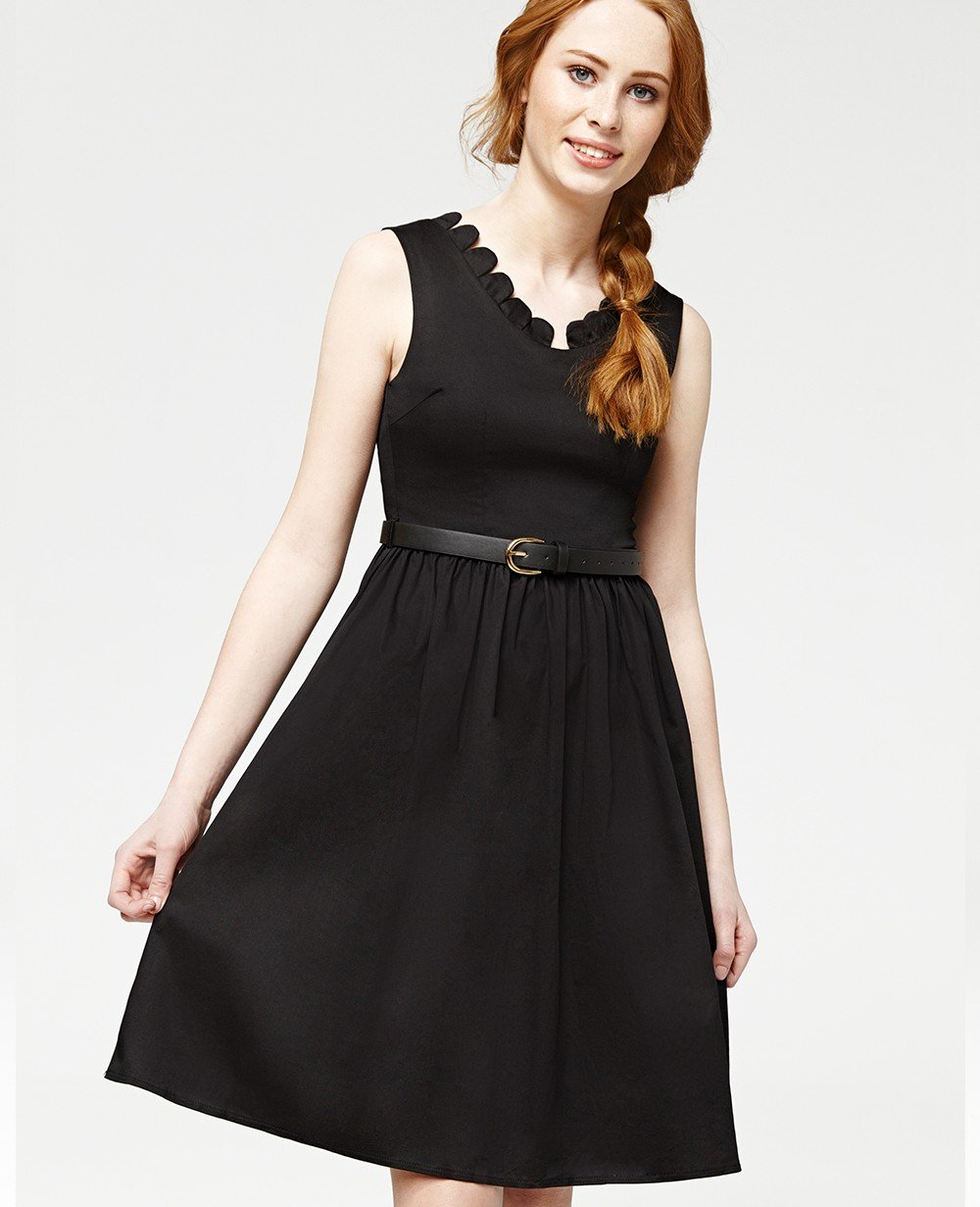 Misfit London Clara Black Scalloped Vintage Inspired Swing Dress