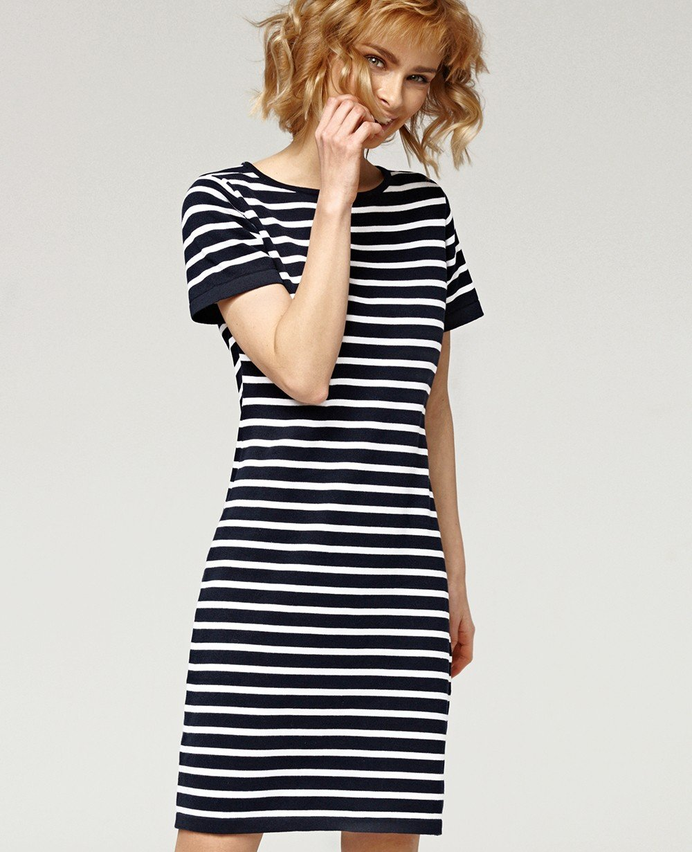 Misfit London Daisy Navy and White Stripe British Lifestyle T-shirt Dress