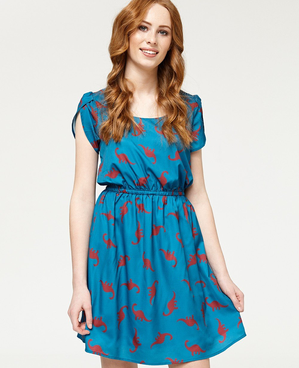 Misfit London Frances Teal Dinosaur Print Flared A Line Dress
