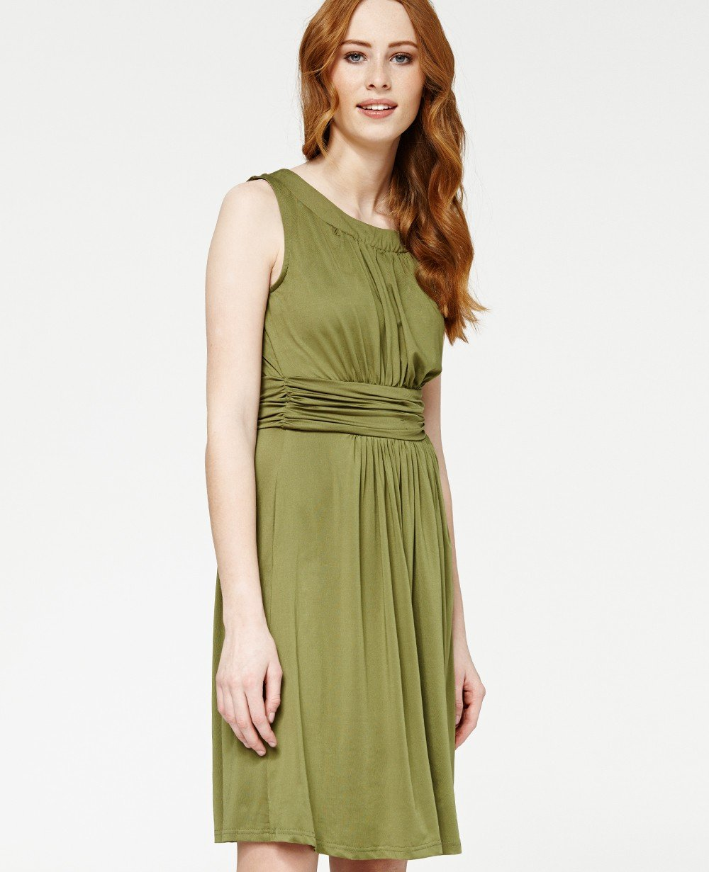 Misfit London Freya Olive Flared Jersey Knitted Day Dress