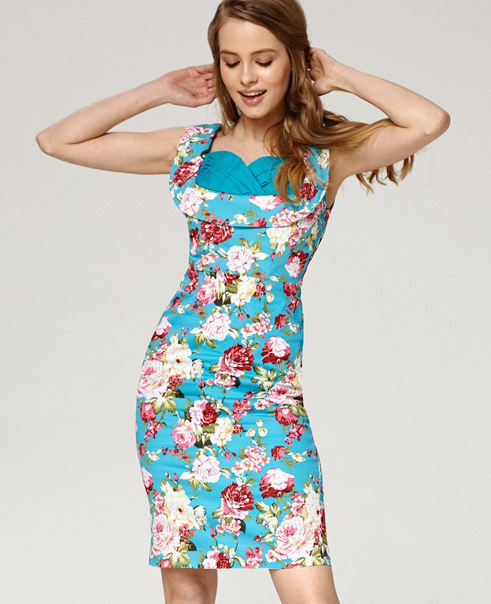 Misfit London Marisa Turquoise Floral Print Pencil office 1950s vintage inspired pencil wiggle dress