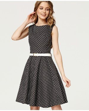 Misfit London Audrey Black Polka Dot Swing Dress Vintage & British Inspired