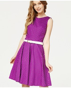 Misfit London Audrey Violet Polka Dot Swing Dress Vintage & British Inspired