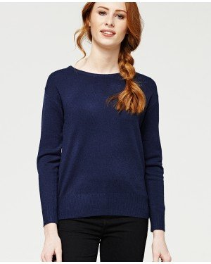 Misfit London Beatrice Navy Blue British Countryside Relaxed Fitted Jumper
