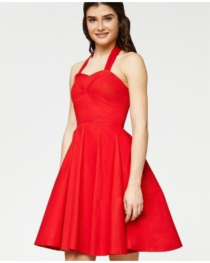 Misfit London Belle Red 1950s Vintage Inspired Halterneck Swing Dress