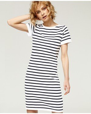 Misfit London Daisy White and Navy Stripe British Lifestyle T-shirt Dress