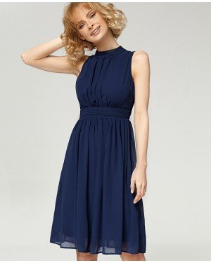 Misfit London Elizabeth Navy Flared Vintage Inspired Swing Dress