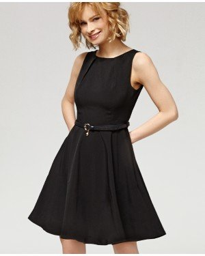 Misfit London Elsa Black Flared Swing Dress with Love heart charm