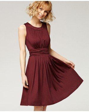 Misfit London Freya Plum Flared Jersey Knitted Day Dress