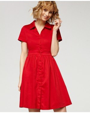 Misfit London Josephine Red Vintage Inspired Shirt Swing Dress