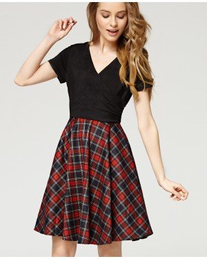 Lara Black wrap top dress with tartan skirt vintage and British country inspired