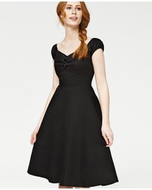 Misfit London Marilyn Black 1950s Vintage Inspired Rockabilly Swing Dress