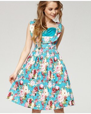 Misfit London Matilda Turquoise Floral 1950s Vintage Inspired Swing Dress