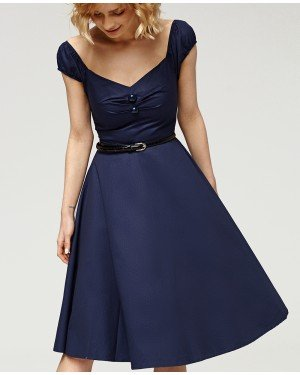 Misfit London Marilyn Navy 1950s Vintage Inspired Rockabilly Swing Dress