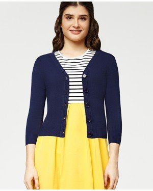 Misfit London Oxford Academy Cardigan in Navy British Teacher Style Cardigan