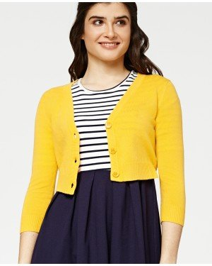 Misfit London Penny Cropped Honey Yellow Knitted Cardigan Vintage Inspired and Ribbed
