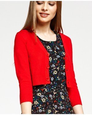 Misfit London Penny Cropped Red Knitted Cardigan Vintage Inspired and Ribbed