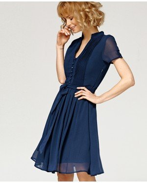 Misfit London Scarlett Navy Blue Vintage Inspired Flared A Line Dress