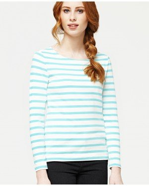 Misfit London Sophie White & Duck Egg Blue Stripe British Countryside 100% Cotton Top