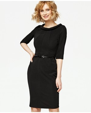 Misfit London Angelina Black Vintage Inspired Wiggle Dress