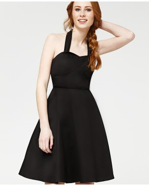 Misfit London Belle Black 1950s Vintage Inspired Halterneck Swing Dress