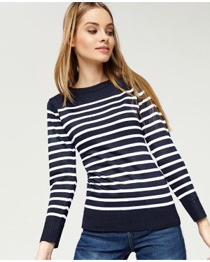 Misfit London Cordelia Navy Blue with White Stripe Nautical British Countryside Jumper