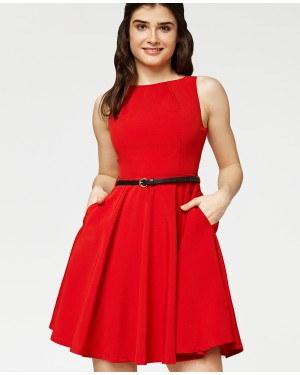 Misfit London Elsa Red Flared Swing Dress with Love heart charm