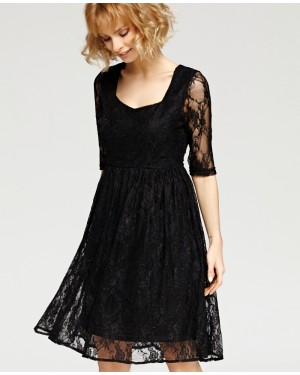 Misfit London Felicity Black Vintage Inspired Floral Lace Swing Dress