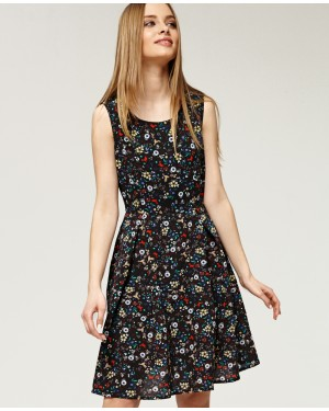 Misfit London Grace Black Floral Vintage 50s Inspired Swing Dress
