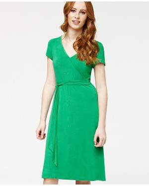 Misfit London Isla Green Wrap Style British and Vintage Inspired Wrap Dress