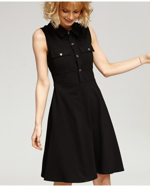 Misfit London Olivia Black Flared British Style Shirt Dress