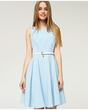 Misfit London Elsa Powder Blue Flared Swing Dress with Love heart charm