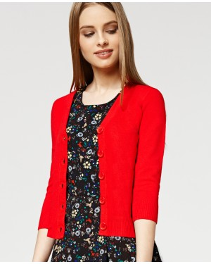 Misfit London Oxford Academy Cardigan in Red British Teacher Style Cardigan