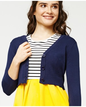 Misfit London Penny Cropped Navy Blue Knitted Cardigan Vintage Inspired and Ribbed