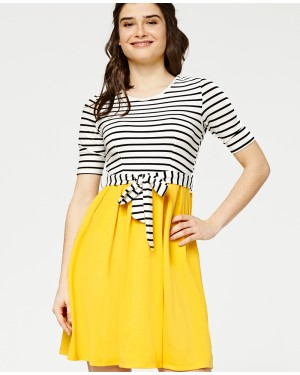 Misfit London Caramel Striped British Countryside Inspired Flared Dress