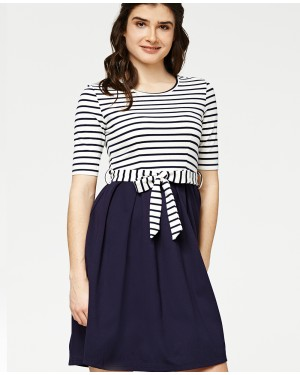 Misfit London Navy Blue Striped British Countryside Inspired Flared Dress