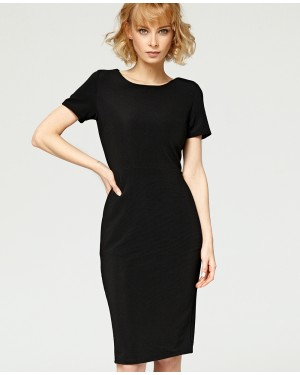 Misfit London Serena Black British Vintage Inspired Ribbed Fabric Wiggle Dress