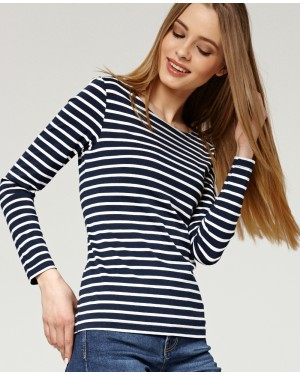 Misfit London Sophie Navy Blue & White Stripe British Countryside 100% Cotton Top