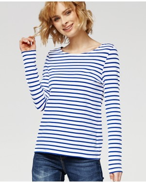 Misfit London Sophie White & Blue Stripe British Countryside 100% Cotton Top